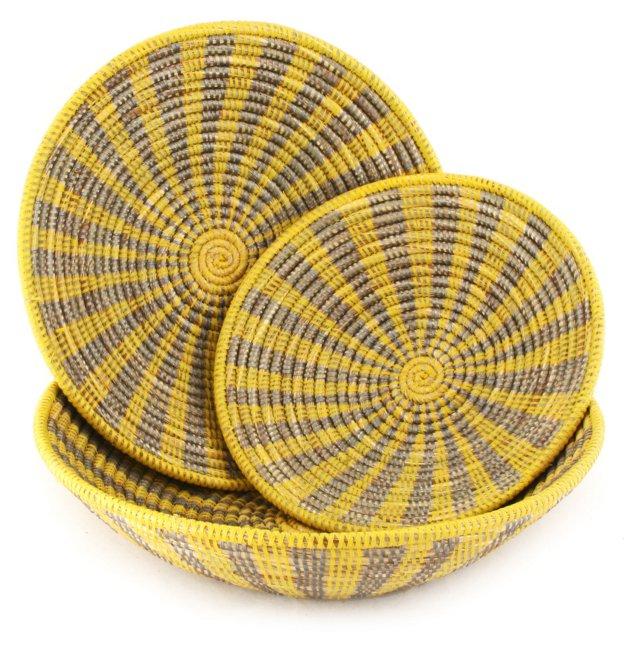 Asst of 3 Grain Baskets, Yellow