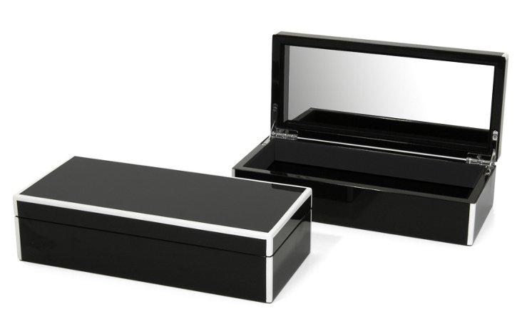 Elle Vanity Lacquer Box, Black