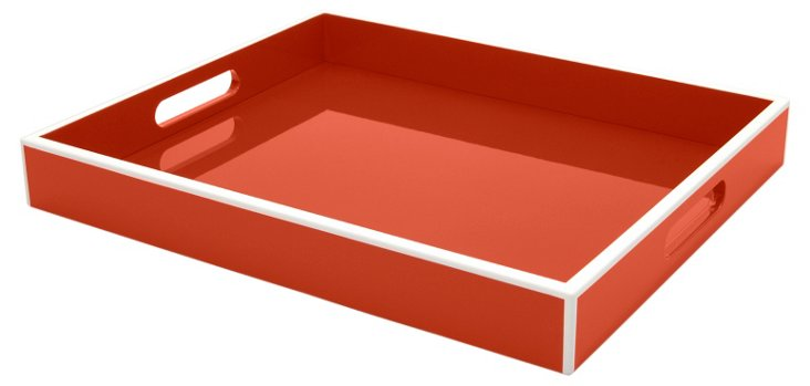 Elle Lacquer Cherry Red Tray, 14x17