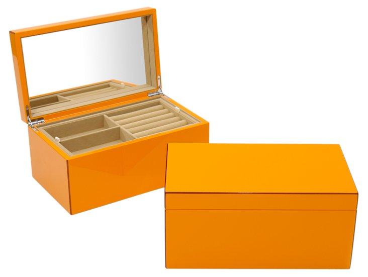 Elle Lacquer Jewelry Box, Orange