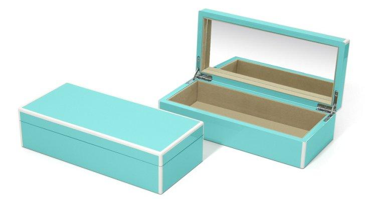 Elle Lacquer Vanity Box, Turquoise