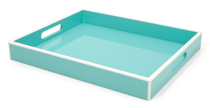 Tray Elle Lacquer Turquoise 14x17