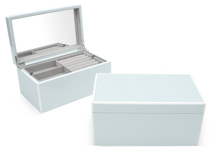 Elle Lacquer Jewelry Box, Arctic Blue