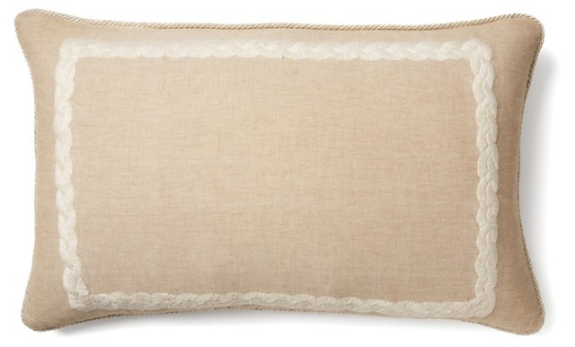 Provence 18x30 Embroidered Pillow, Taupe