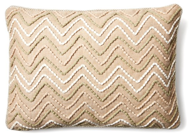 Miami 16x22 Embroidered Pillow, Natural