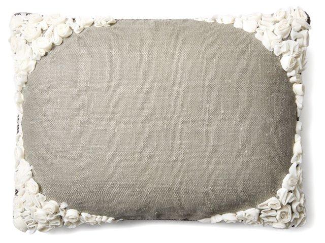 Roses 16x22 Linen-Blend Pillow, Gray
