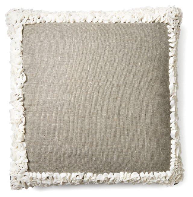 Roses 24x24 Linen-Blend Pillow, Gray