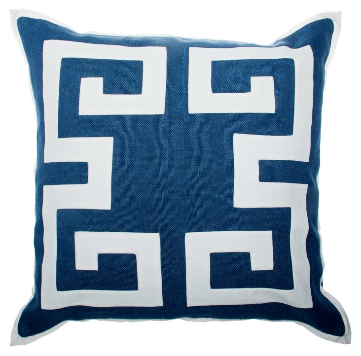 Greek Key 24x24 Pillow, Navy