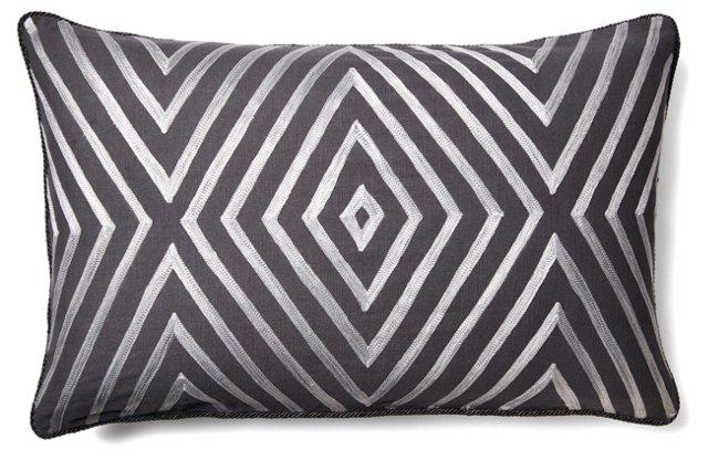 City 18x30 Cotton Pillow, Gray