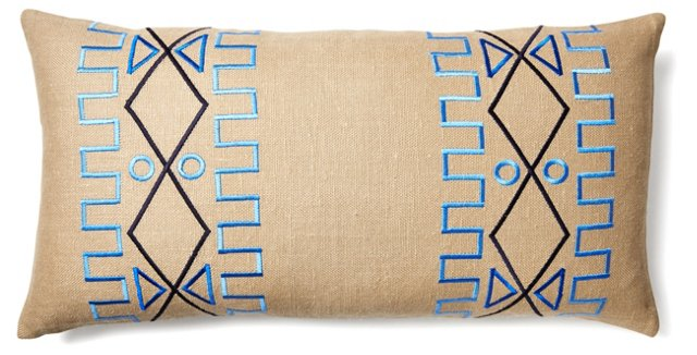 Lyon 15x30 Embroidered Pillow, Beige