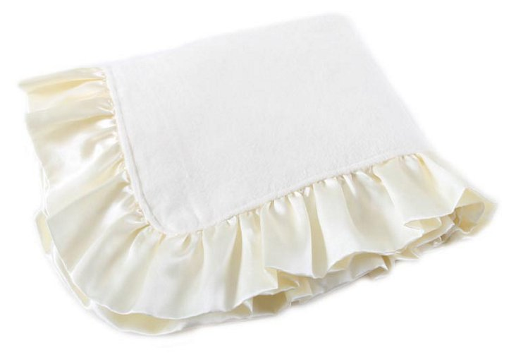 Bamboo Ruffle Baby Blanket, Cream