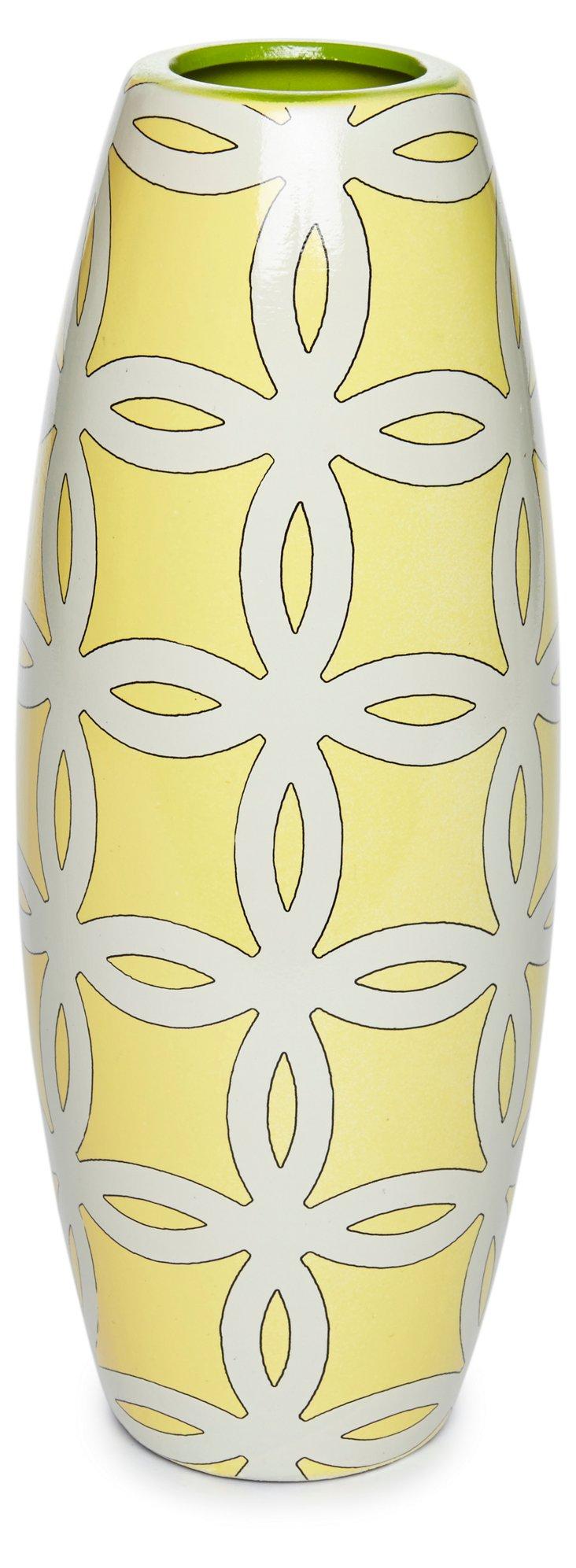 """12"""" Lattice Vase, Yellow"""