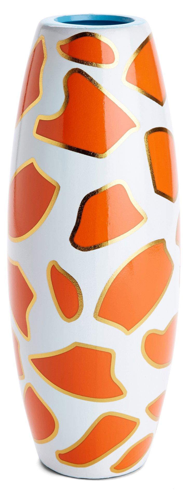 """12"""" Ceramic Giraffe Print Vase"""