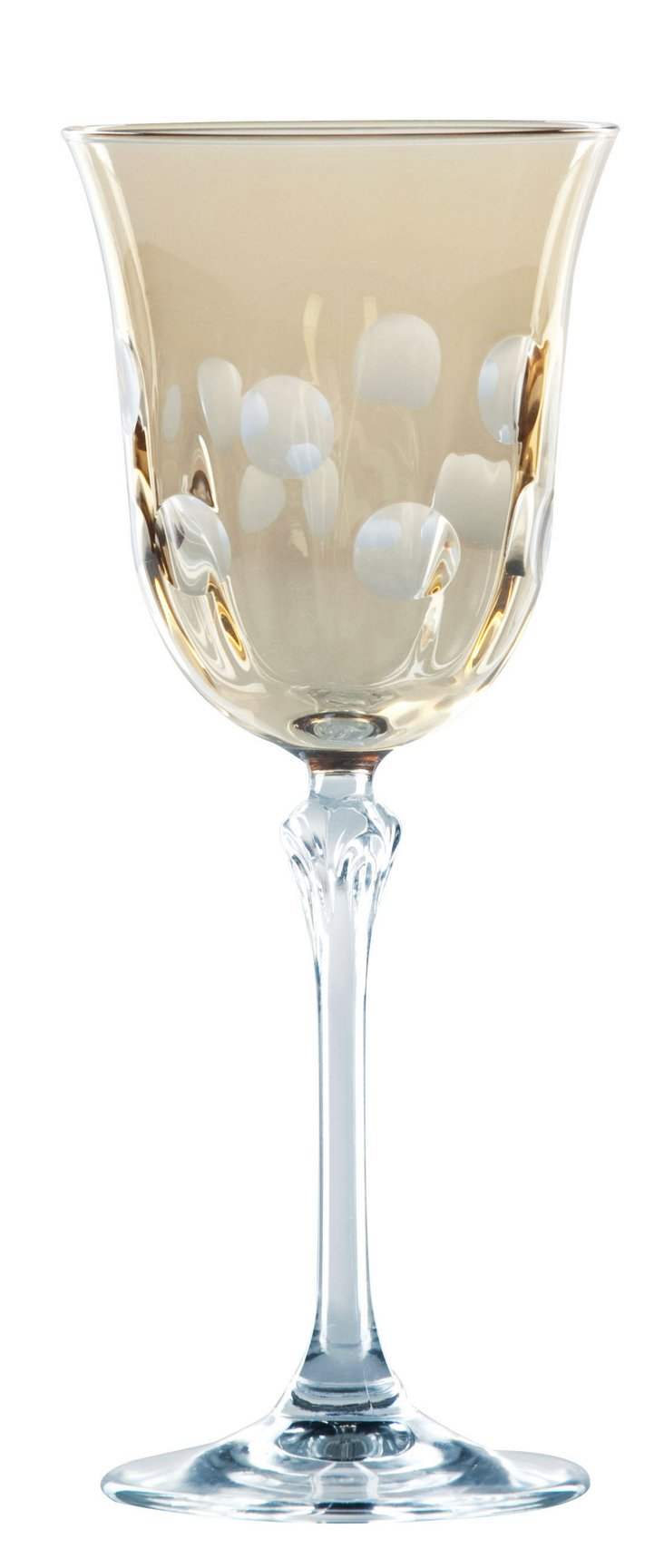 S/4 Dot Wine Glasses, Amber