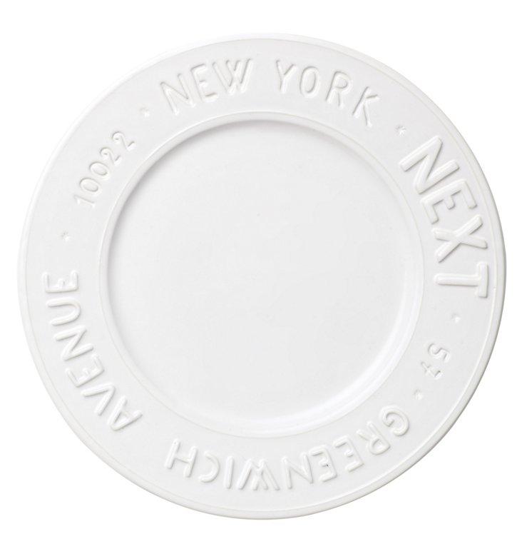 Metro New York Dinner Plate, White