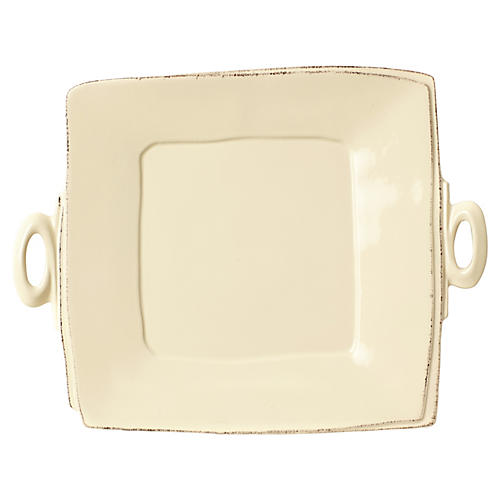Lastra Cream Handled Square Platter
