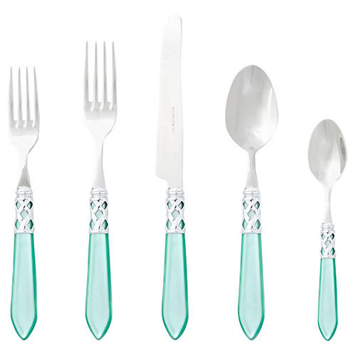 5-Pc Aladdin Brilliant Place Set, Aqua