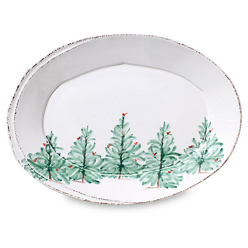 Lastra Holiday Small Oval Platter, White