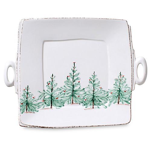 Lastra Holiday Square Platter, White
