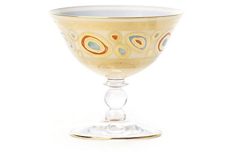 Regalia Cream Dessert Bowl, Gold