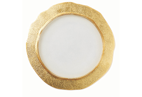 Rufolo Organic Glass Charger, Gold