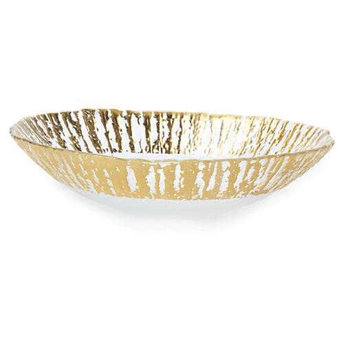 Medium Rufolo Oval Glass Bowl, Gold