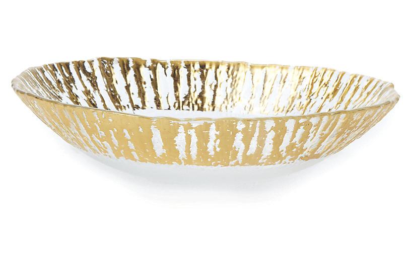 Medium Rufolo Oval Glass Bowl, Gold