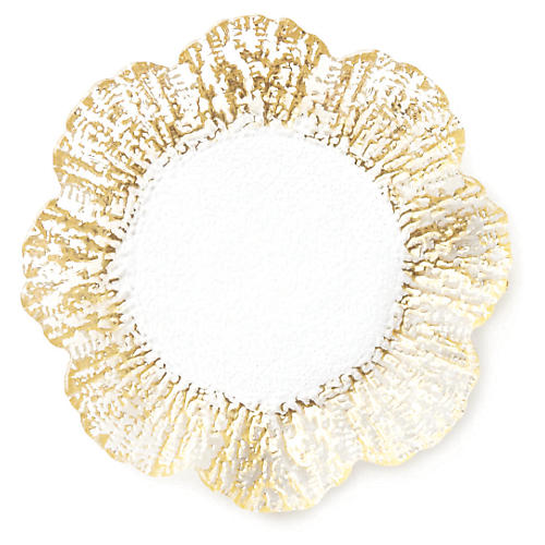 Rufolo Glass Canapé Plate, Gold