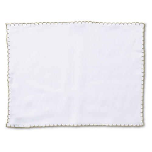 S/4 Whipstich Place Mats, Ivory