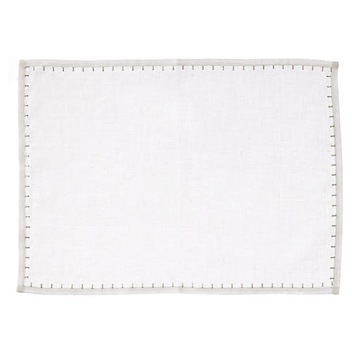 S/4 Whipstitch Place Mats, White
