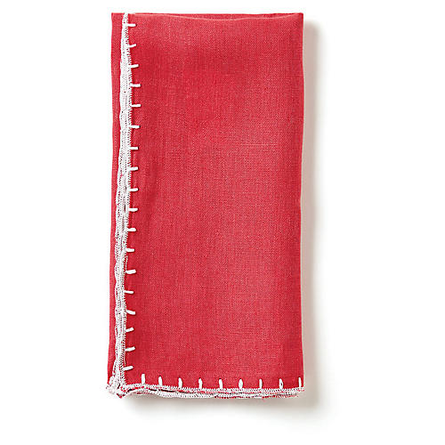 S/4 Whipstitch Dinner Napkins, Cranberry