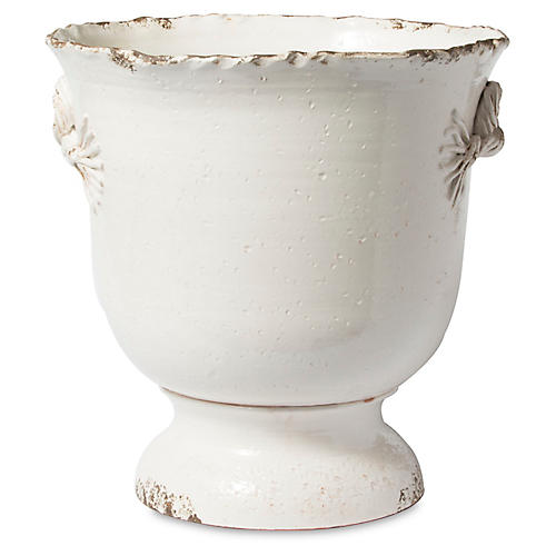 """18"""" Rustic Garden Large Footed Planter, White"""