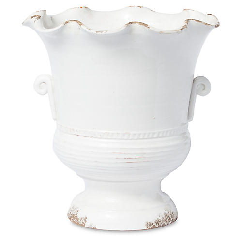 "17"" Rustic Garden Scalloped Footed Planter, White"