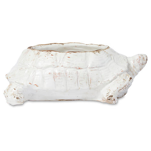 "14"" Rustic Garden Turtle Planter, White"