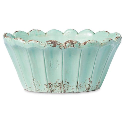 "12"" Rustic Garden Scalloped Oval Planter, Aqua"