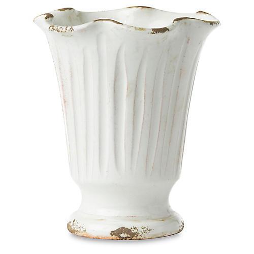 "7"" Rustic Garden Ruffle Vase, White"