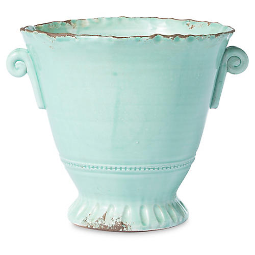 "12"" Rustic Small Flair Planter, Aqua"