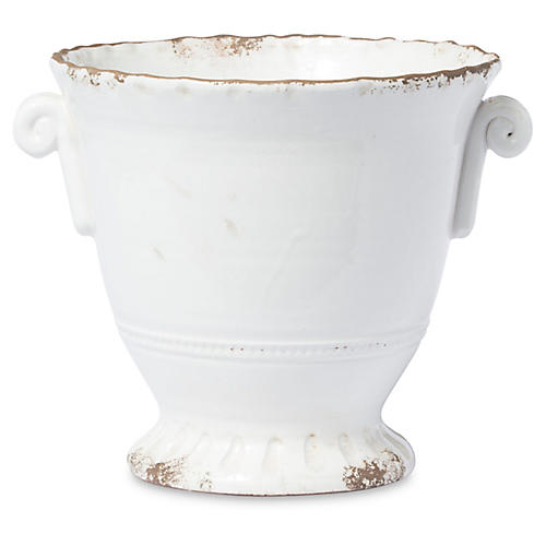 "12"" Rustic Small Flair Planter, White"