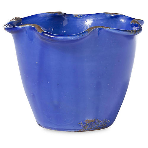 "6"" Rustic Scalloped Planter, Cobalt"