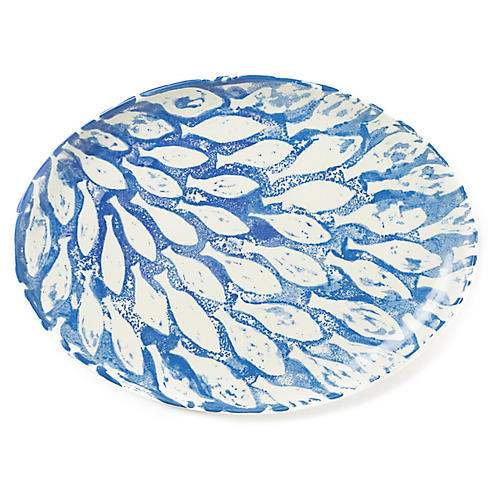 School of Fish Oval Platter, Blue