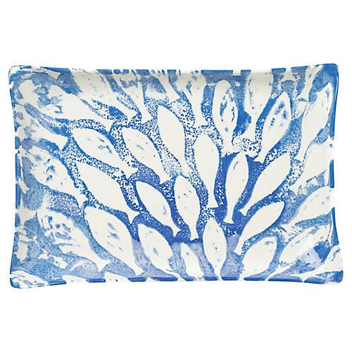 School of Fish Rectangular Platter, Blue