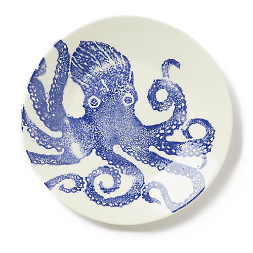 Costiera Octopus Dinner Plate, Blue