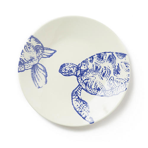 Costiera Turtle Salad Plate, Blue