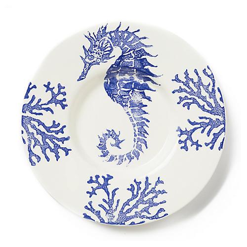 Costiera Round Seahorse Platter, Blue