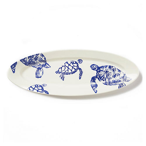Costiera Oval Turtle Platter, White