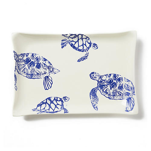Costiera Rectangular Turtle Platter, Blue