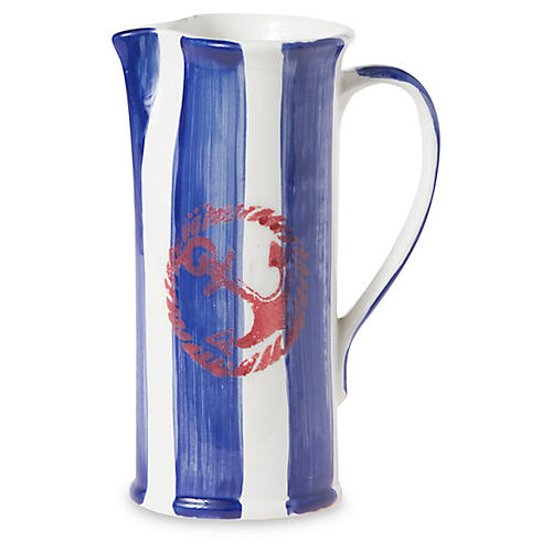 Costiera Striped Pitcher, Blue