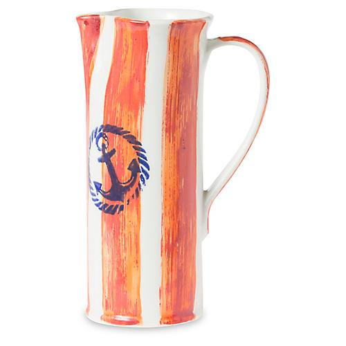 Costiera Tall Striped Pitcher, Orange