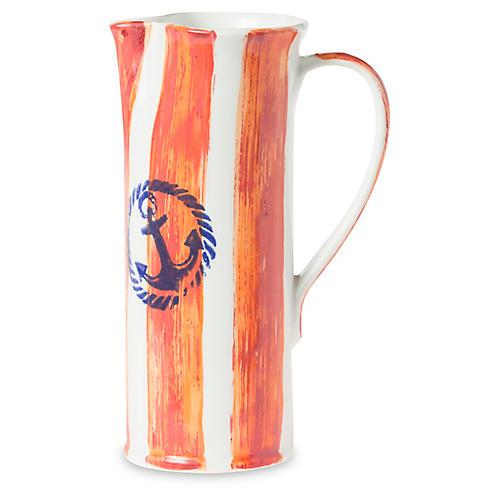 Costiera Tall Striped Pitcher, Orange
