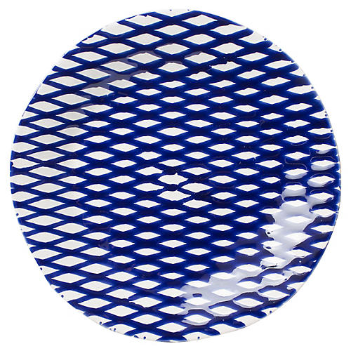 Net & Stripe Net Dinner Plate, Blue